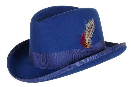 SKU# MAS833 GODFATHER NEW MENS Royal Blue 100% Wool Homburg Dress Hat 4201