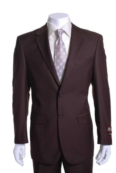 SKU# EW234 2 Button Vented without pleat flat front Pants Suit 47815-8-2BV-NP Brown $89
