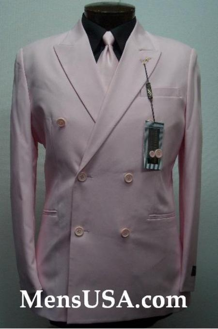 SKU# MUPDB 2pc MENS SHARP Double Breasted 6 on 2 Closer DRESS Pink SUIT Pleated Pants $139
