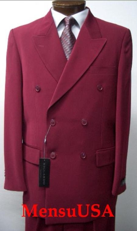 SKU# HTB2 2pc MENS SHARP Double Breasted DRESS SUIT Burgundy ~ Maroon ~ Wine Color Suits