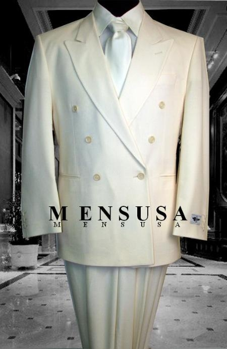 SKU# HTB2 2pc MENS SHARP Double Breasted DRESS SUIT Off White (IVory/Cream)