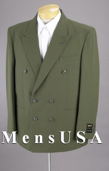 SKU# HTB4 2pc MENS SHARP Double Breasted DRESS SUIT Olive Green Suits $139