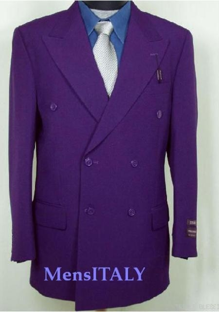 SKU# HTB7 2pc MENS SHARP Double Breasted DRESS SUIT Purple Suits $139