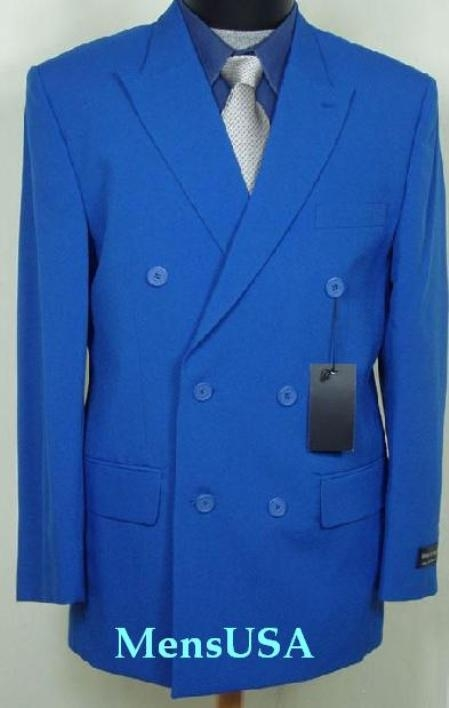 SKU# HTB2 2pc MENS SHARP Double Breasted DRESS SUIT Royal Blue (French Blue)