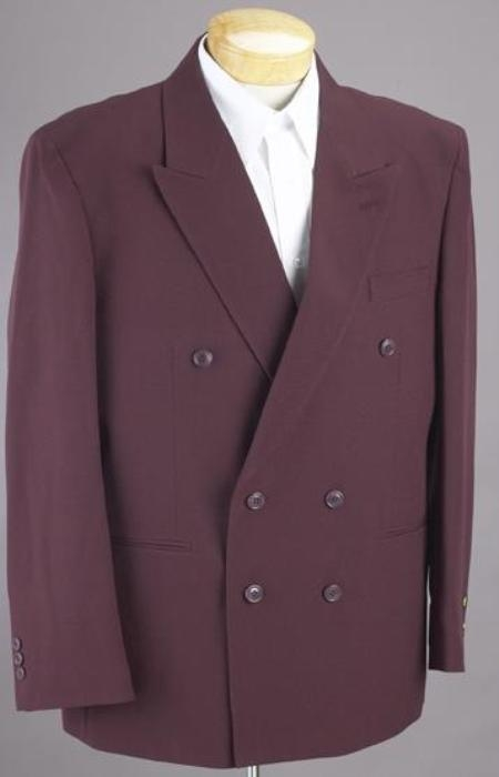 SKU#HTB4 2pc MENS SHARP Double Breasted DRESS SUIT Burgundy ~ Maroon ~ Wine Color Suits $159