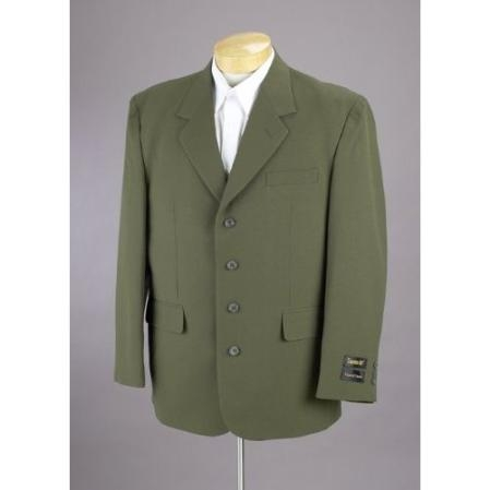 SKU#RT54 MENS 4 BUTTON OLIVE GREEN Single Breasted SUIT (Jacket & Pants) $139.00