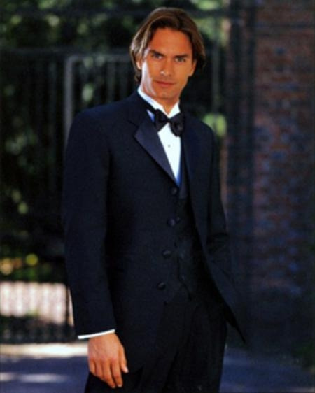 SKU#ER546 MENS BLACK TUXEDO 3PC 4 BUTTON SUPER 150S WITH VEST A MUST HAVE TUXEDO $195
