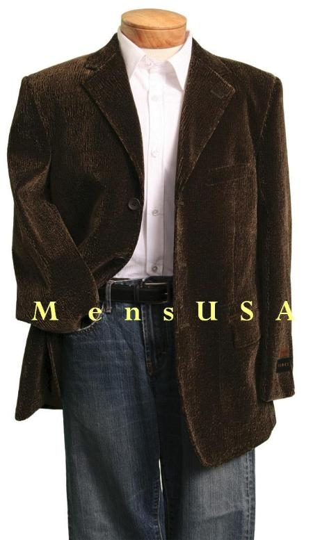 SKU# KQV610 MENS NEW Single Breasted, 3 button BROWN VELVET Corduroy SPORT COAT VELOUR BLAZER $99