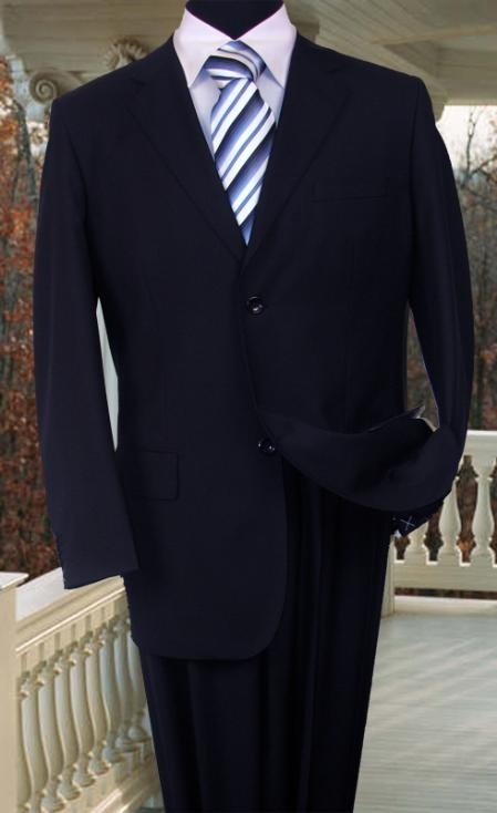 SKU#WE456 MENS SOLID COLOR NAVY BLUE SUIT BY Signature Platinum Stays Cool Tailored NAVY 2 BUTTON HAND STITCHING