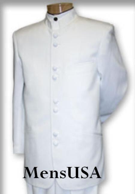 SKU# MN8 Quality Pure Snow White Mandarin Collar Tuxedo Suit Light Weight Soft Fabric