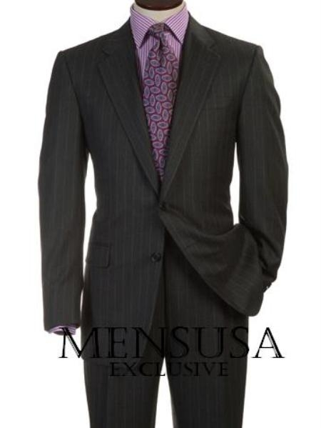 SKU# MU2B  Beautiful Signature Classic Mens 2 Button Charcoal Gray & Tin Pinstripe Business Suits