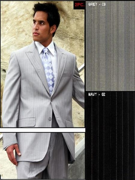 Style# MUMF039  2 Button Peak Lapel Gray Stripe Suit High Twist Extra Fine Versace Style