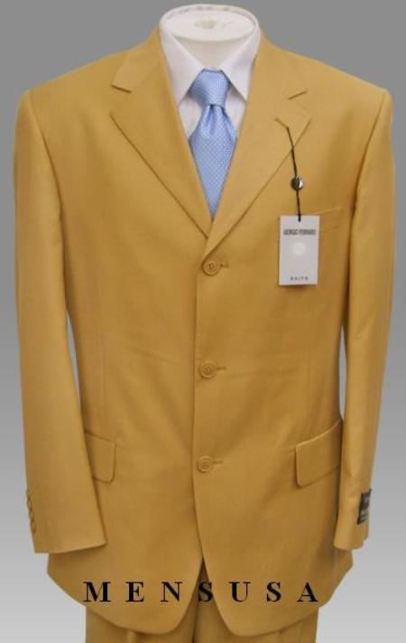 SKU# MU99 New Fresh Bright Gold Fashion Dress Men Discount Suits $585