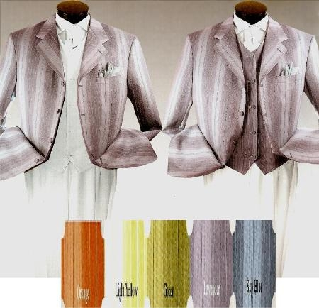 SKU# MUtc64s139 White & Any Color Pinstripe Fashion Long Zoot Suits Available in All Colors $139