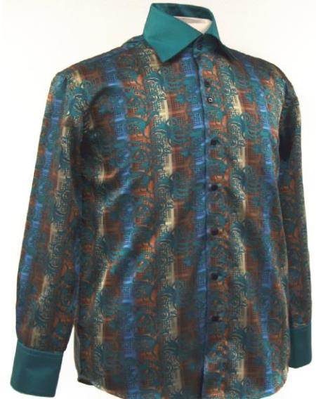 1960s Men's Clothing, 70s Men's Fashion Fancy Polyester Dress Fashion Shirt With Button Cuff Green $65.00 AT vintagedancer.com