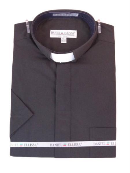 Men's Mandarin Banded Collar Pastor Preacher Minister Preacher Round Style Short Sleeve Black collarless Shirt