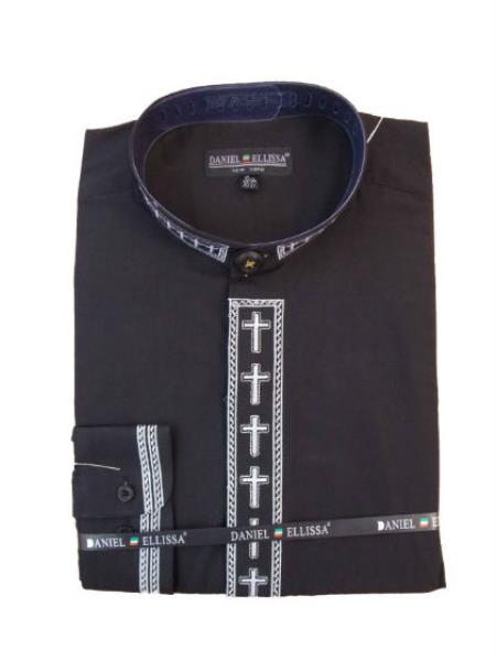 Buy MK176 Men's Mandarin Banded Preacher Round Style Collar Pastor Preacher Long Sleeve Black/White collarless Shirt