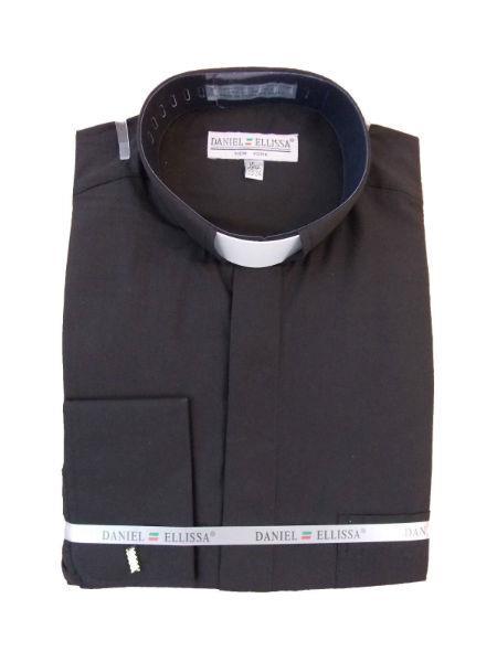 Mens Mandarin Banded Collar FrenchCuff Pastor Preacher Preacher Round Style Long Sleeve Black collarless Shirt