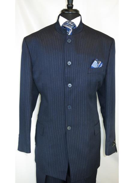 Mens Mandarin Banded Collar Dark Navy Pinstripe Pattern 5 Button Suit