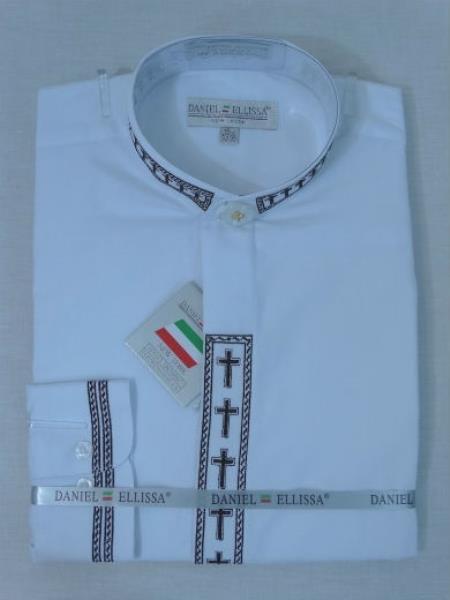 Men's Mandarin Banded Collar Pastor Preacher Long Sleeve Preacher Round Style White/Black collarless Shirt