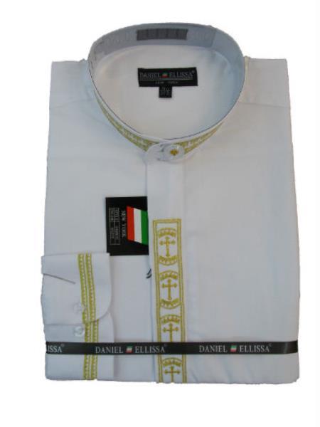 Buy MK177 Men's Mandarin Banded Collar Pastor Preacher DS2007 Long Sleeve Preacher Round Style White/Gold collarless Shirt
