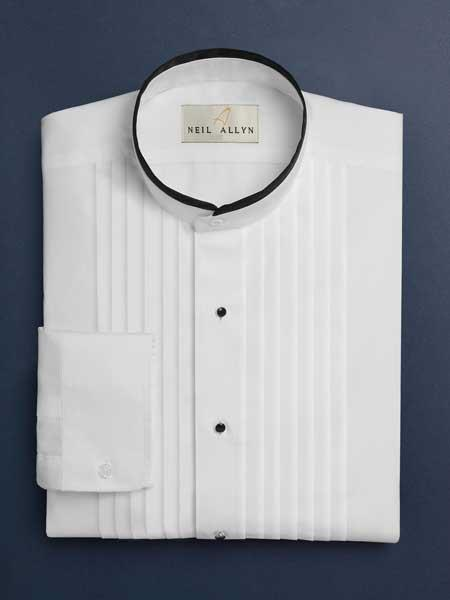 Devon Pleated Mandarin Barrel Cuff Preacher Round Style White Tuxedo Shirt With Pleats