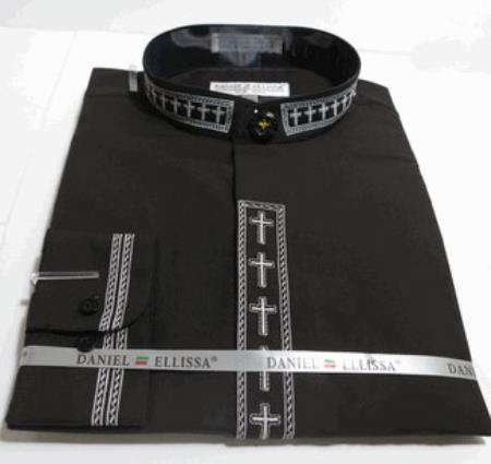 Mens Mandarin Banded Dress collarless Shirt with Cross Embroidery Trim CollarPreacher Round Style  And Covered Buttons And Convertible Cuffs Also With Embroidery Trim Black And White