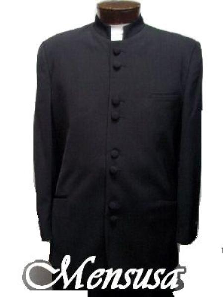 SKU# JGF132 Mandarin Collar BANNED Collar Black Suit 8 BUTTON EXTRA FINE HAND MADE Discount Sale Designer Super Light Weight $120