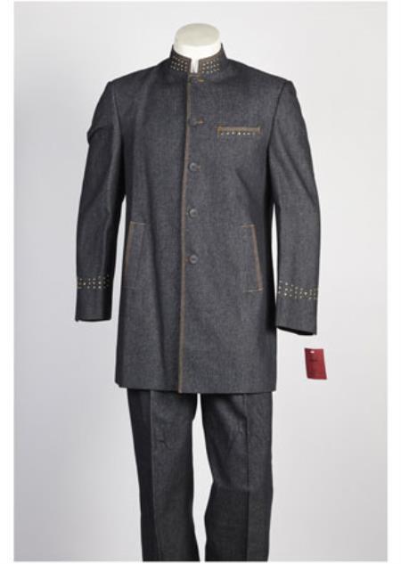 Buy SS-8444 Mens 5 Button Mandarin Collar Suit Black