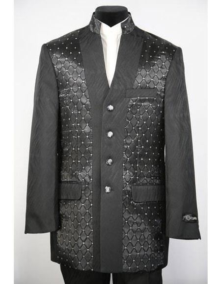 Mens Mandarin Collar 4 Button 2piece Diamond Pattern Black Zoot Suit