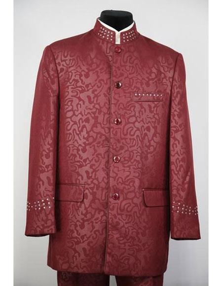 Mens Mandarin Collar Burgundy ~ Wine ~ Maroon Color 5 Button 2piece Floral Print Suit