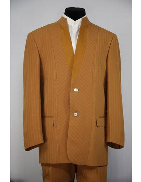 Mens Mandarin Collar Cross Striped Cognac 2 Button 2piece Suit
