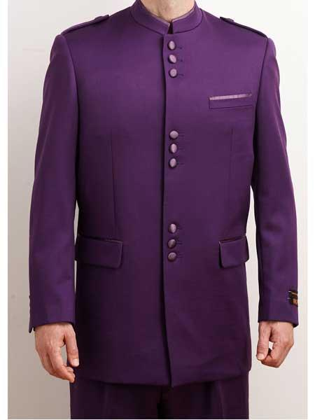 Buy SM1697 Men's Mandarin Collar 2 Piece Purple Single Breasted Nehru Style Long Suit