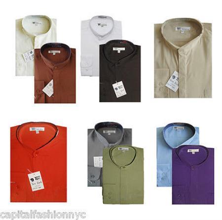 Mandarin Collarless Nehru Collar Preacher Round Style Multi-color Men's Dress Shirt