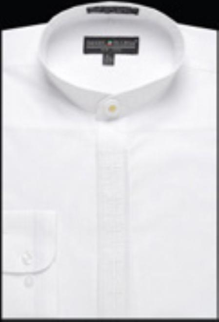 SKU#GA328 Mens Embroidered Banded Collar dress shirts without collars Mandarin Collarless White