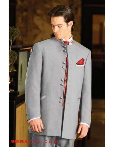 Men's Mandarin Light Grey Tuxedo Suit