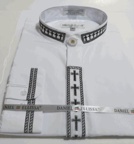 White&Black Embroidery Preacher Round Trim Collar Mens Mandarin Banded collarless,Covered Buttons Dress Shirt