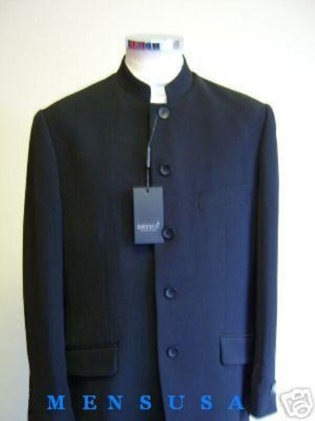 SKU#LO5 Mandarin Collar BANNED Collar Navy Blue Suit 5 BUTTON EXTRA FINE HAND MADE FRENCH CU