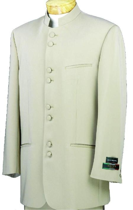 SKU#M78 Mandarin Collar BANNED Collar Taup/Khaki Suit 8 BUTTON EXTRA FINE FRENCH CUT Suit $149