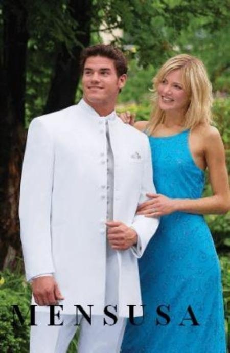 SKU# KJ67 Mandarin Collar BANNED Collar White Suit 8 BUTTON EXTRA FINE HAND MADE Discount Sale Designer Super L $299