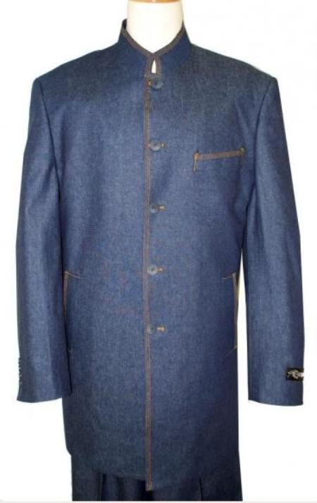 MU8313 Mandarin Collar Denim 100% cotton denim suits gold stitching in Black/Blue/Brown/Olive $199