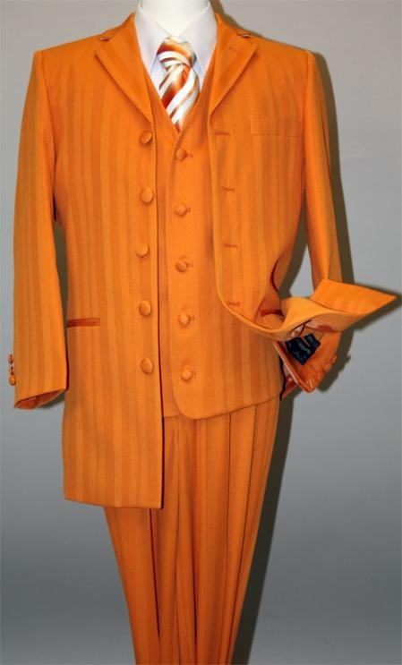 SKU#MU17071 Mango~Orange Long Fashion Shiny look Shadow Ton on Ton Pinstripe Vested Suit $159