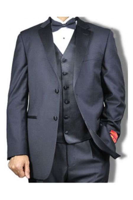 Mens Mantoni Notch Lapel Vested 2 Button Tuxedo Black