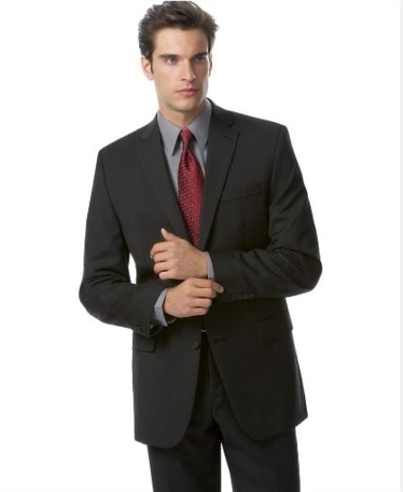 Men'sSKU#LL2 Black Tuxedo 1 One Button Notch Tuxedo Suit