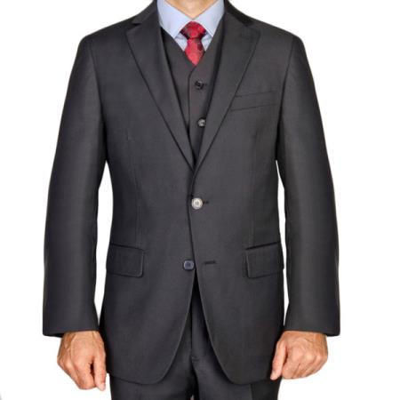 Mens Black 3 Piece Mantoni Brand 100% Wool Super 140s Suit