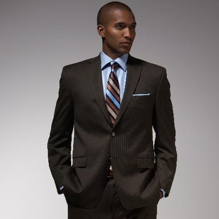 SKU#GZ572 Authentic Mantoni Brand Brown Stripe ~ Pinstripe Suit