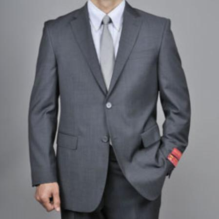 Authentic Mantoni Brand Charcoal Gray Sharkskin 2-Button Wool Suit