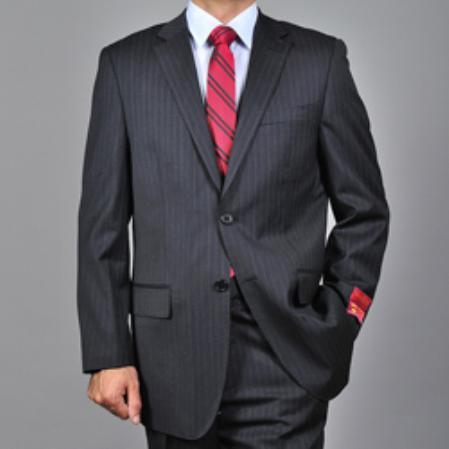 SKU#KA1512 Authentic Mantoni Brand Mens Dark Charcoal Grey 2-button Wool Suit