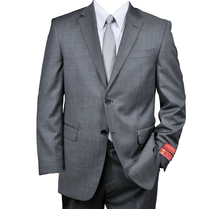 Authentic Mantoni Brand Charcoal Gray 2-Button Wool Suit