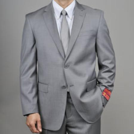 SKU#KA1437 Authentic Mantoni Brand Grey 2-button Wool Suit